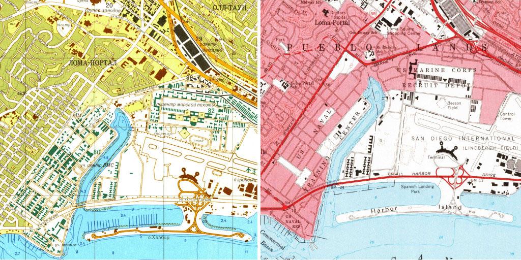 Для сравнения: справа - карта центра Сан-Диего от советских экпертов, слева - американская версия