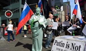 Нью-Йорк встречает Путина митингами